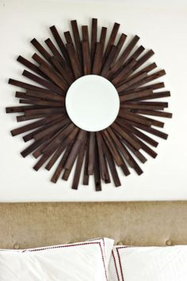 Wooden Shims Sunburst Mirror