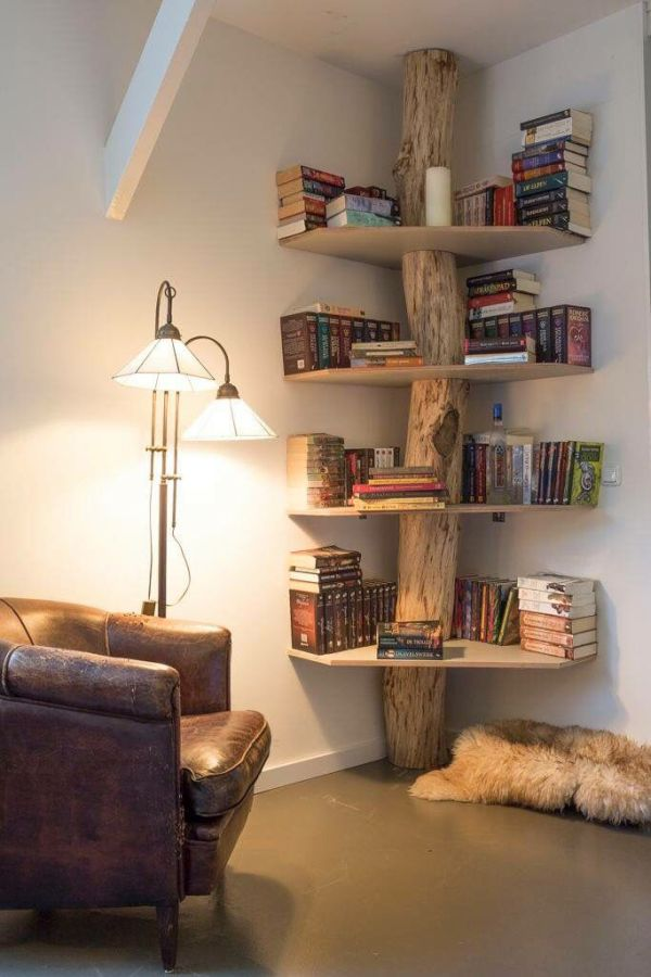 Wooden Stump Corner Shelf