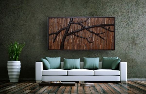 Reclaimed Wood Wall Art with Real Tree Branches