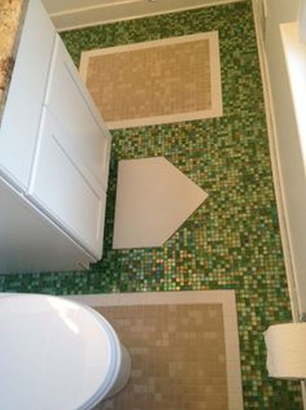 bathroom floor or wall with sports themed tiles