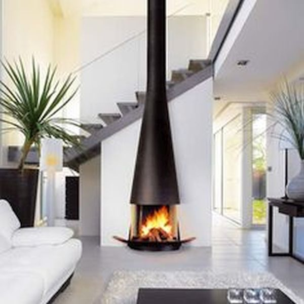 Contemporary fireplace with central Telescopic Hood