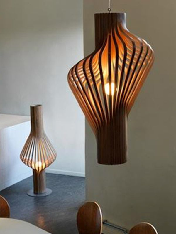 Sculptural Lamp made of Plywood