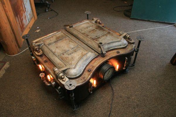 Steampunk Industrial Boiler Door Coffee Table
