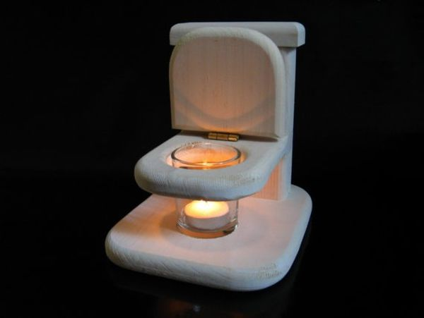 Toilet tea candle holder