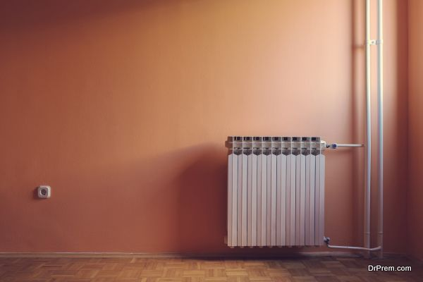 Pastel retro color of windows illuminated empty room with radiator