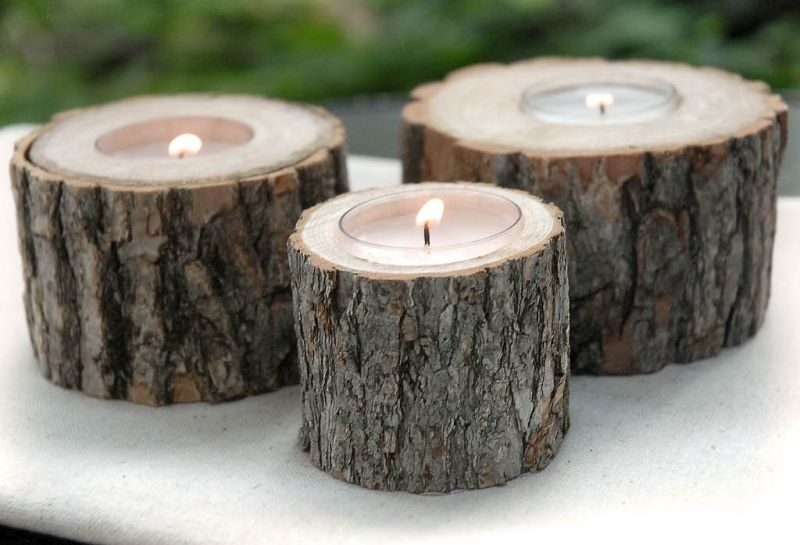 wood tree branch candle holder