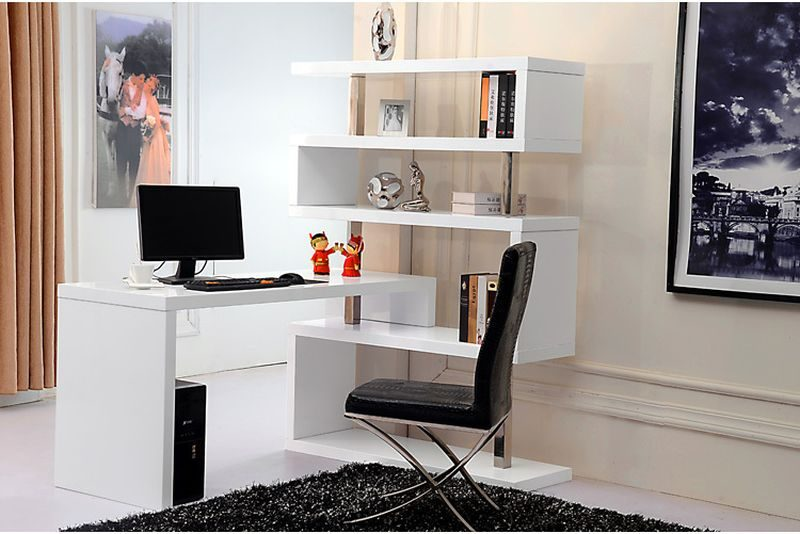 bookshelf and office table