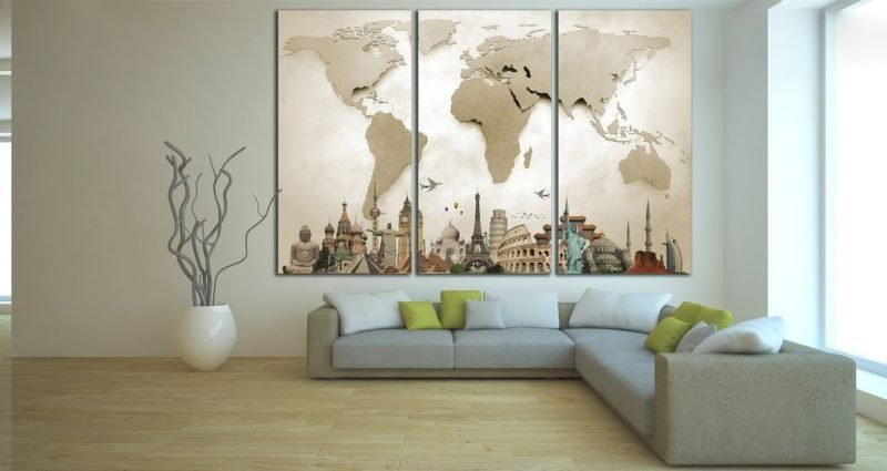 3D effect world map canvas art home decor ideas