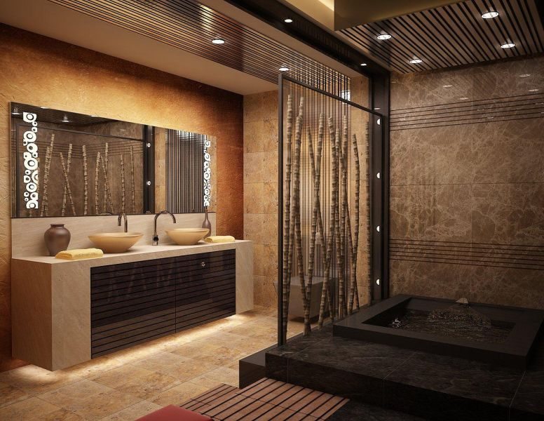 Bamboo used for the construction of bathrooms