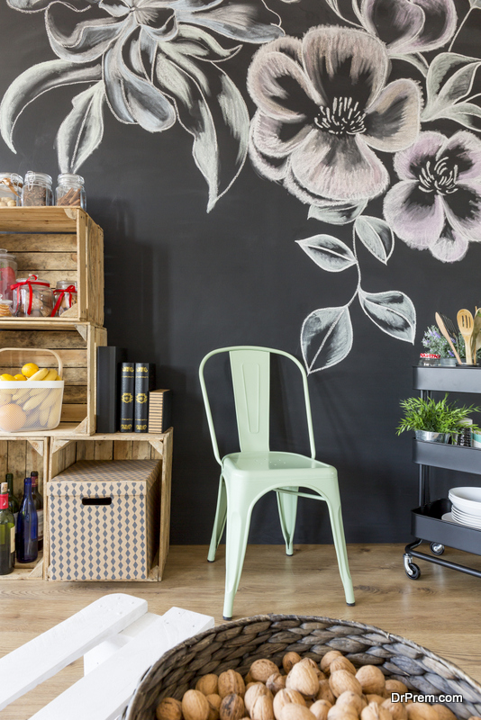 Creating a space for artwork on chalkboard