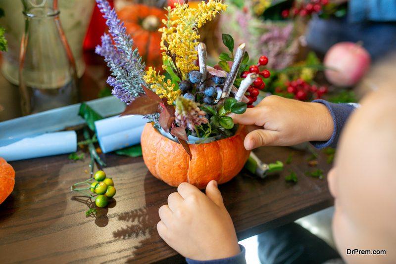 Using pumpkins as vases