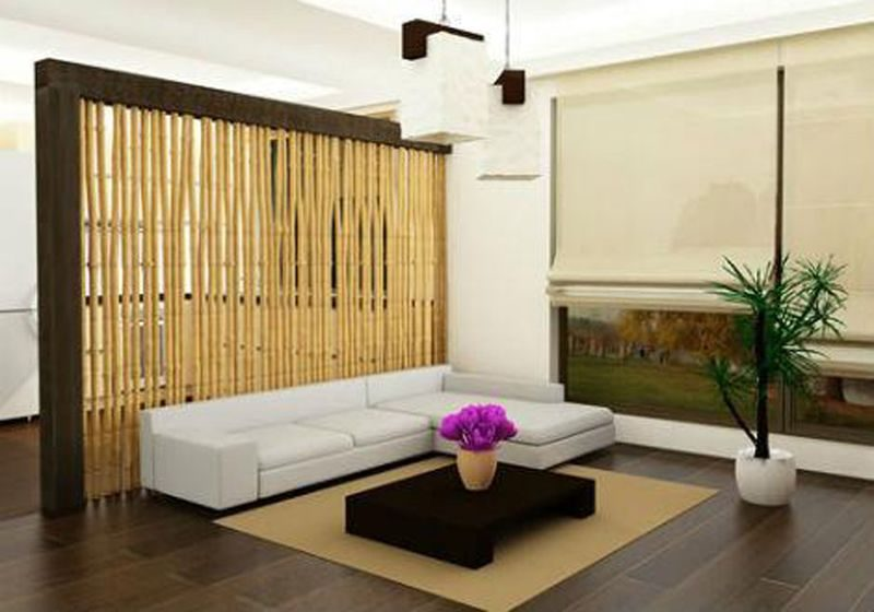 bamboo as decoration in the living room