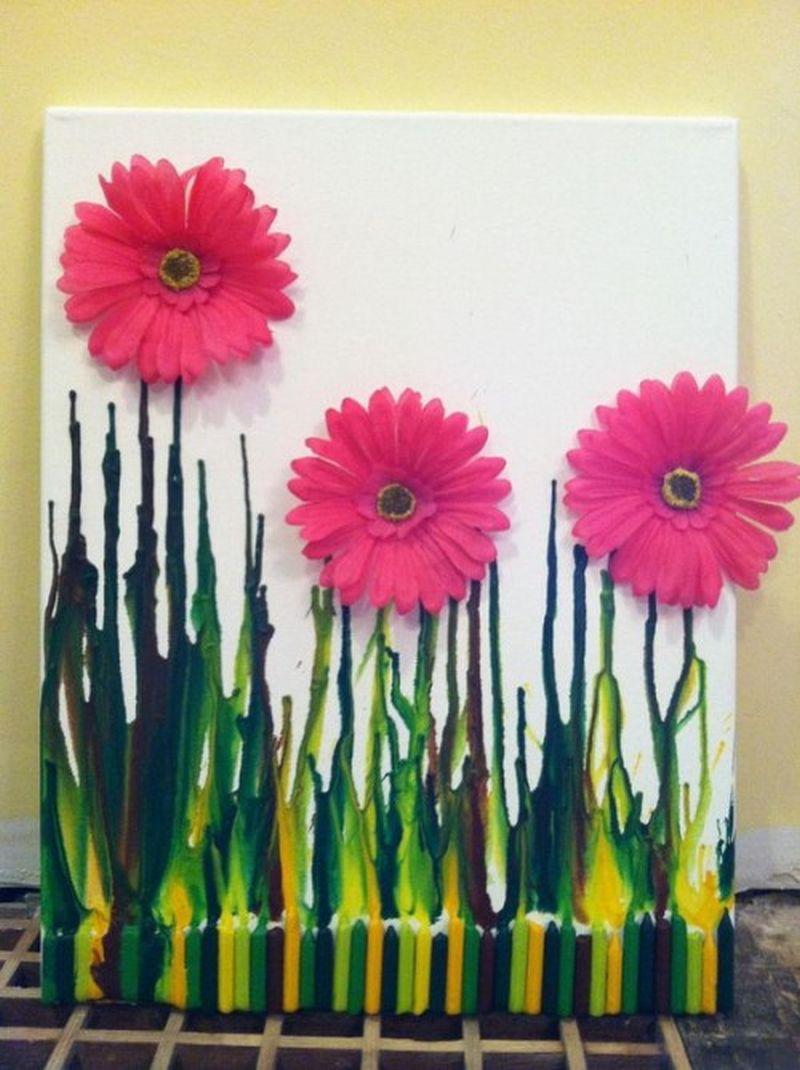 Melted crayon flower garden