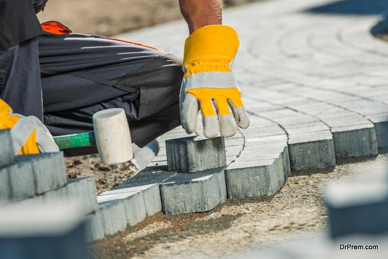 Create a cobblestone pathway