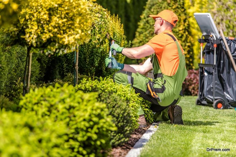 Landscaper working in garden