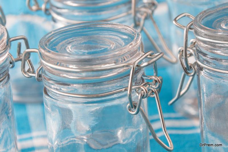 mason jars to store the individual items