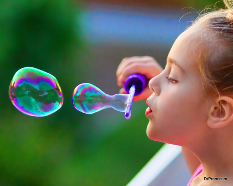 Kids love blowing bubbles