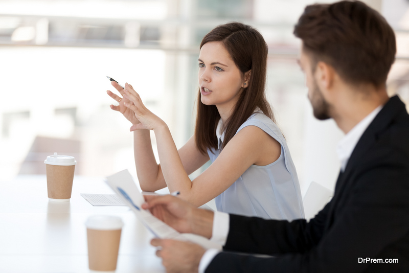 co workers indulged in healthy talks