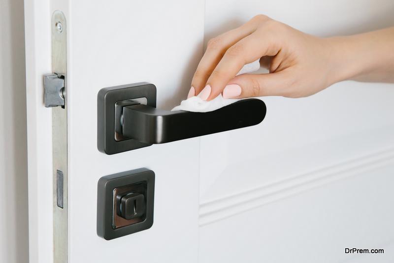 Cleaning doorknobs