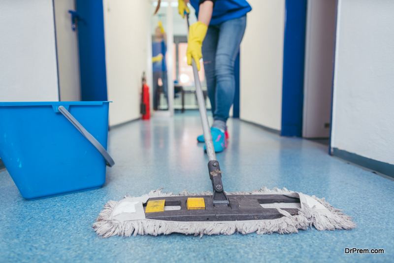 trained employee cleaning