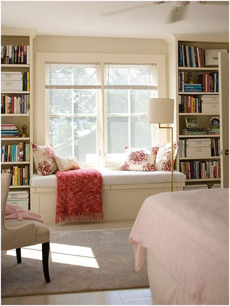 Colourful room décor with multiple shelves