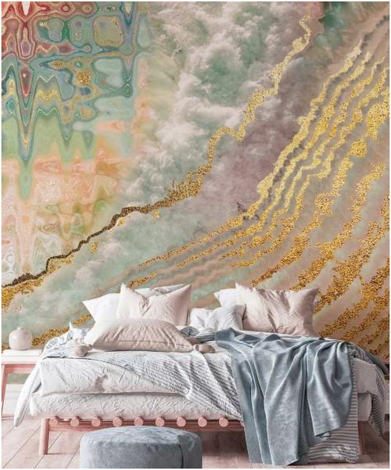 Mystical feel using glittery Geode wall design