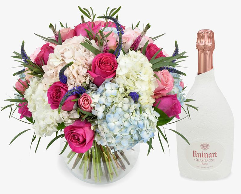 famous champagne to pair with a famous bouquet of Moyses flowers